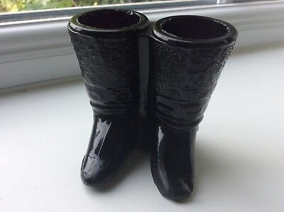 Scarce Adjoined Pair Of Victorian Opaque 'Black' Pressed Clear Glass Boots- #861