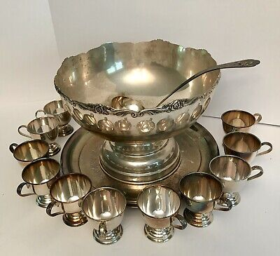 Vintage Silver Plated Nickel Punch Bowl w/ 11 Cups Serving Spoon Platter Japan