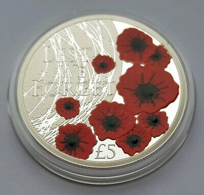 2019 Alderney 100 years of Remembrance Day Poppy Five Pound £5 Proof Coin, Mint