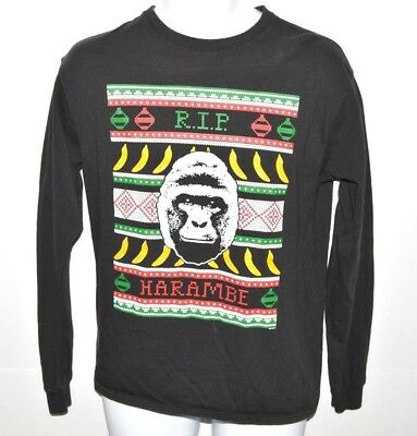 e841ee0c8 RIP Harambe Ugly Christmas T-shirt Mens Size Medium Long Sleeve Bananas Ape  Tee