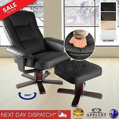 Cream Black Armchair Recliner Chair Footrest Stool Lounge Home Seat PU Leather