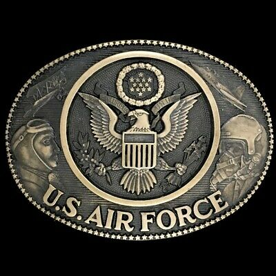 Vtg 1980s Us Air Force Veteran Military Officer Usaf Military Brass Belt Buckle