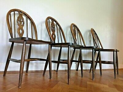 Vintage Ercol Windsor Dining Chairs 1960s mid century modern kitchen farmhouse