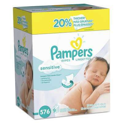 Pampers® Sensitive Baby Wipes, White, Cotton, Unscented, 64/Pack, 037000847717