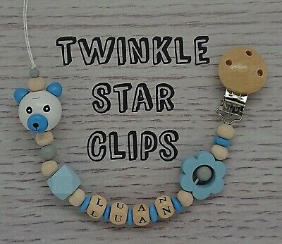 🌼 Personalised Wooden Dummy Clip 💞 Baby gift 🌼 Dummy Chain 💞 Blue 🌼 Teddy