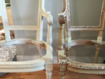 Pair (2) of Quality Loui XVI Bergere Chair Frames for Restoration