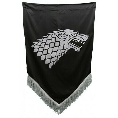 "Game of Thrones House Stark Sigil Wall Banner with Fringe 27"" x 45"" GoT Flag"