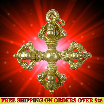 Lucky Thai Amulet Pendant Powerful Magic Holy Vajra Tibetan Thunder Wealth Rich