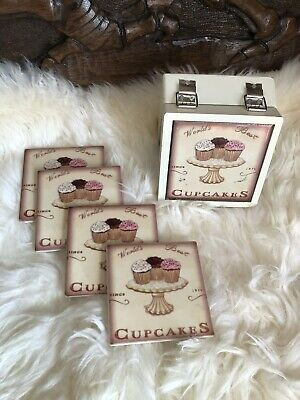 Cup Cake Tile Coasters Set of 4 Shabby Chic Vintage Style In Presentation Box
