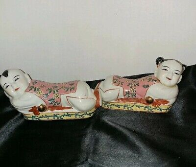 """Vintage Chinese Porcelain Famille Rose Figurines Pillow Headrest. L.approx. 7.5"""""""