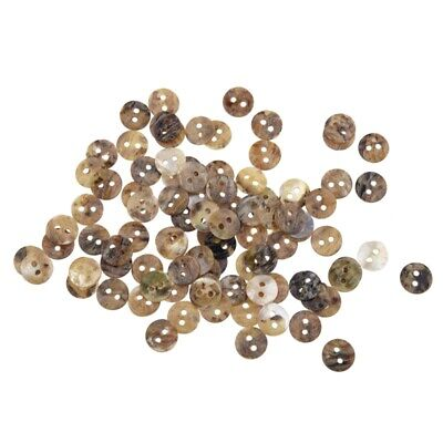 100 x 8 mm Pearl Buttons Mother of Pearl Shell Round Heads S3O2