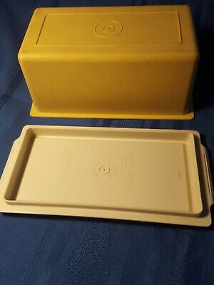 VINTAGE Tupperware Covered Butter Dish Yellow Almond 1 lb. LARGE 638-12