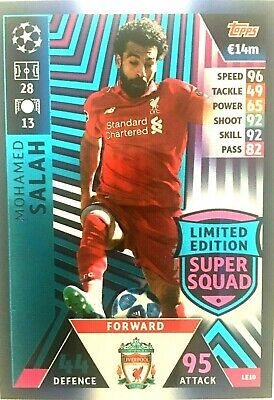 Match Attax 18/19 Uefa Ch/League Mohamed Salah Limited Edition Super Squad  Mint