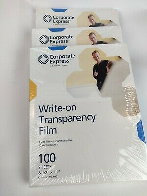 Lot 3 Corporate Express Write On Transparency Film 100 Sheets 8.5x11 CEBAF49702