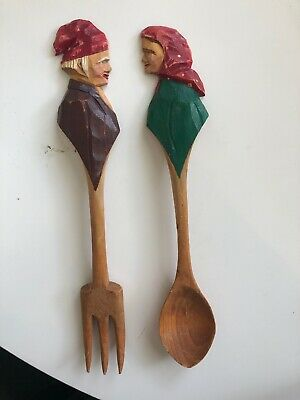 Rosaire Audet Hand Carved Salad Server Set