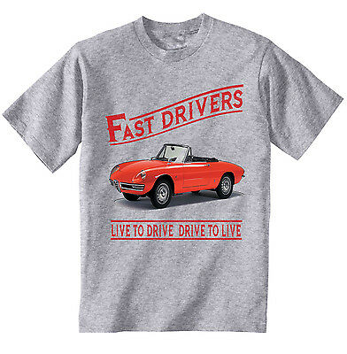 Alfa Romeo Spider Fast Drivers - New Cotton Grey Tshirt - All Sizes In Stock