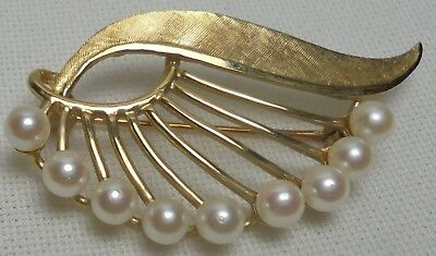 Vintage 14K Solid Gold & Pearl Brooch Pin 5 Grams 9 Pearls Estate Find