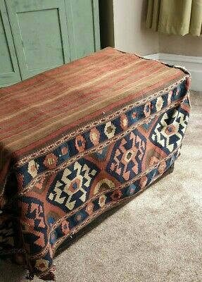 Persian handwoven Shahsavan wool mafrash multicoloured cargo bag ottoman or...