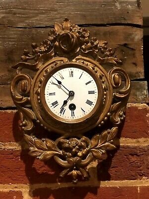 Late 19th century gilt metal and enamel French cartel clock
