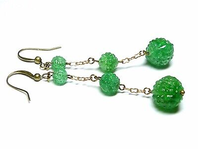 Vintage Art Deco green pressed glass bead drop earrings to match 1930s necklaces