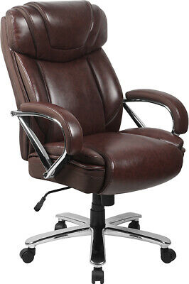 Big & Tall Brown Leather Executive Office Chair Extra Wide Seat 500 Lbs Capacity
