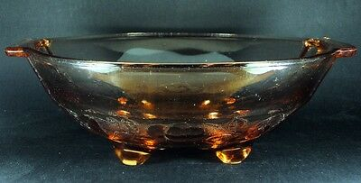 Large Footed Peach Glass Bowl Grape Berry Pattern 27cm VTG | FREE Delivery UK*