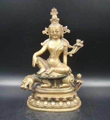 200mm Collectible Handmade Carving Statue Buddha God Brave troops Copper Brass