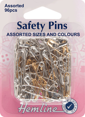Hemline H415.99.96 | Assorted Value Pack Safety Pins | Sizes 0,1,2,3 | 96 Pieces