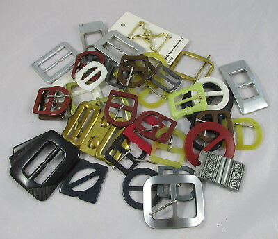 Lot of 39 Vintage Sewing Belt Buckles - Plastic Brass Chrome