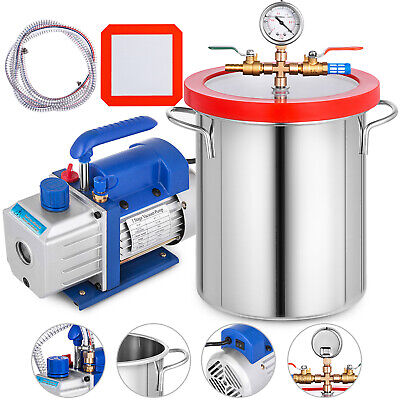 3 Gallon Chamber Kit with 3CFM Vacuum Pump Degassing Conditioning Gauge