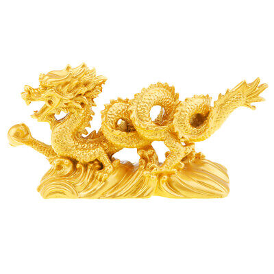 Dragon Figurine Holding a Ball Chinese Gold Dragon Figurine Statue Ornaments