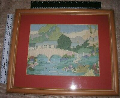 Embroidered Picture of Cottage view.  Framed and glazed. Size 44x37cm