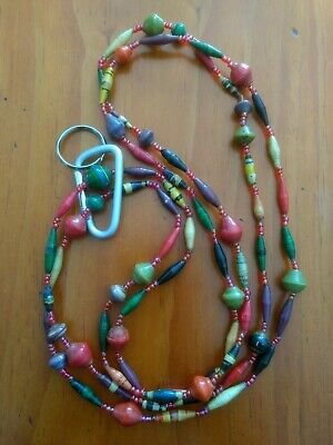 """""""Tribal Grey"""" beaded key lanyard made from vintage bead necklace and split ring."""