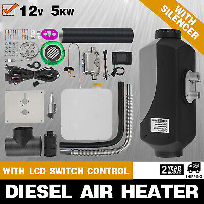 de 5KW 12V Air Diesel Heater With Tank Vent  Duct  Thermostat Caravan ee