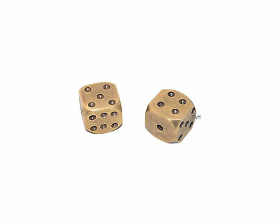 Solid Brass Dice Set, Antique style casino and gambling dice Set of Two FA75708
