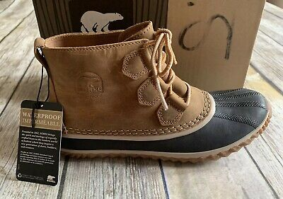 Sorel Womens Out N About Lux Boot 6-8-8.5-9 Waterproof Leather Duck Ankle Black