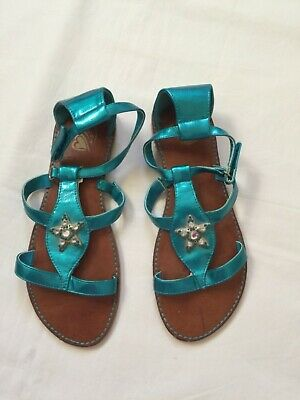 330bff0b4b4d NWT The Childrens Place Girls emerald Glitter Gladiator Sandals Youth 5