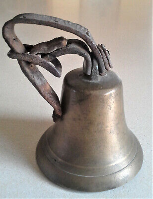 """Vintage Large 4"""" Brass Bronze Cow Sheep Animal Bell Leather Strap & Buckle NICE!"""