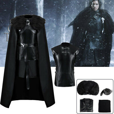 Mens Jon Snow Game of Thrones Night's Watch Cosplay Halloween Outfit Fancy Dress