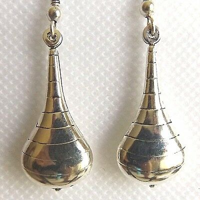 Small Silver Plated Drop Earrings, Nickel Free Teardrop Design With Rings.