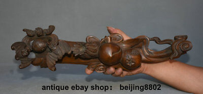 "16.4"" Old Antique Old Chinese Boxwood Carved Bat Peach Ruyi Ru Yi Lucky Statue"