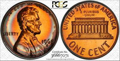 1968-S 1 Cent Lincoln Memorial Penny Bu Pcgs Pr67Rb Graded & Toned None Higher!