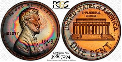 1969-S 1 Cent Lincoln Memorial Penny Pcgs Pr65Rb Beautiful & Toned Low Pop!