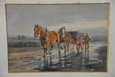 watercolour Emily Atkinson, signed and dated 1895, Figure with horses and cart,