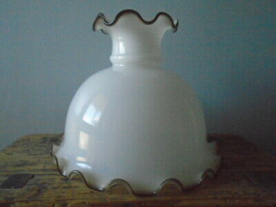 Vintage Milk Glass Oil Lamp Shade or Cowl with Brown Frill Edge - 17cm high