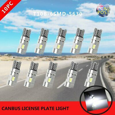 10x T10 6SMD 5630 Bright White LED Canbus License Plate Light W5W LED Lamp Bulb