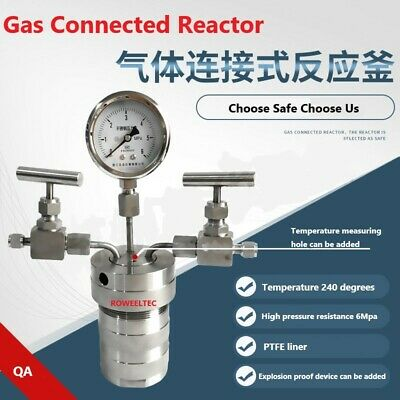 Hydrothermal synthesis Autoclave Reactor vessel + inlet outlet gauge 6Mpa 500mlj