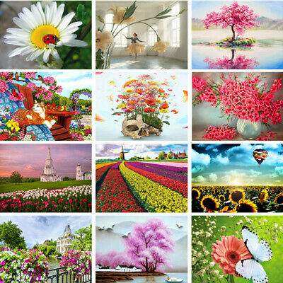 Flower Pattern DIY Paint By Number Acrylic Oil Painting On Linen Home Wall Decor