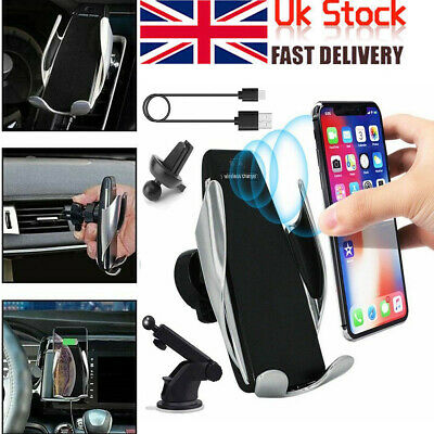 Automatic Clamping Wireless Car Charger Mount Air Vent Windscreen Phone Holder
