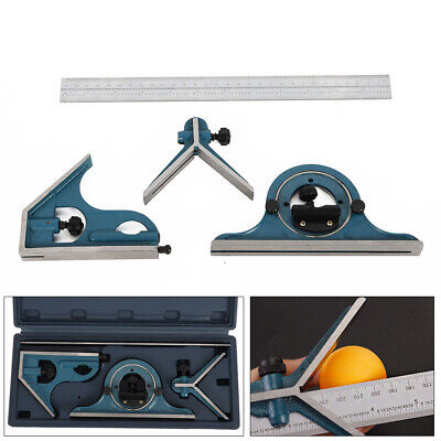 300mm Adjustable Combination Angle Ruler Set Measuring Tool Square Protractor US
